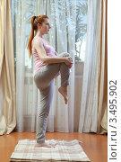 Купить «Беременная женщина дома делает гимнастику», фото № 3495902, снято 10 марта 2012 г. (c) Михаил Иванов / Фотобанк Лори