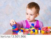 Купить «Маленькая девочка играет с конструктором», фото № 3501966, снято 12 ноября 2010 г. (c) Татьяна Макотра / Фотобанк Лори