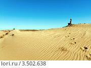 Молодая женщина сидит на песчаной дюне. Стоковое фото, фотограф Хромушин Тарас / Фотобанк Лори