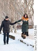 Влюбленная пара на прогулке в зимней день. Стоковое фото, фотограф Хромушин Тарас / Фотобанк Лори
