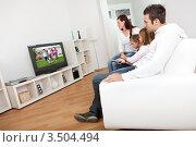 Купить «Семья на диване смотрит телевизор», фото № 3504494, снято 16 октября 2011 г. (c) Андрей Попов / Фотобанк Лори