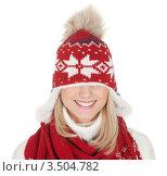 Купить «Улыбающаяся девушка в натянутой на глаза вязаной шапке», фото № 3504782, снято 17 декабря 2011 г. (c) Андрей Попов / Фотобанк Лори