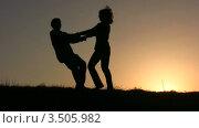 Купить «Танцующая пара на закате», видеоролик № 3505982, снято 3 апреля 2008 г. (c) Losevsky Pavel / Фотобанк Лори