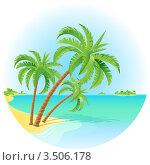 Купить «Тропический остров с пальмами», иллюстрация № 3506178 (c) Dvarg / Фотобанк Лори