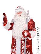 Купить «Дед Мороз с посохом стоит на белом фоне», фото № 3513114, снято 28 ноября 2010 г. (c) Сергей Сухоруков / Фотобанк Лори