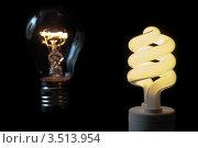 Лампочка накаливания и энергосберегающая лампа на черном фоне. Стоковое фото, фотограф Хромушин Тарас / Фотобанк Лори