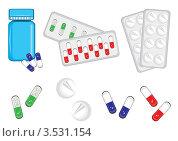 Таблетки, капсулы и упаковка. Стоковая иллюстрация, иллюстратор Dvarg / Фотобанк Лори
