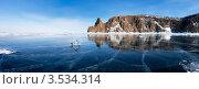 Байкал. Панорама северной оконечности острова Ольхон - мыса Хобой. Стоковое фото, фотограф Виктория Катьянова / Фотобанк Лори