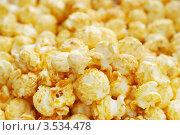 Воздушная кукуруза (попкорн) крупным планом, фон. Стоковое фото, фотограф human / Фотобанк Лори