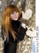 Купить «Девушка гуляет в лесу зимой», фото № 3540386, снято 24 марта 2012 г. (c) Зореслава / Фотобанк Лори