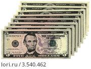 Купить «Аврам Линкольн на 5-долларовой купюре, деньги изолировано на белом фоне», фото № 3540462, снято 16 октября 2019 г. (c) FMRU / Фотобанк Лори
