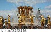 Вид на фонтан на ВВЦ, Москва (2009 год). Стоковое видео, видеограф Losevsky Pavel / Фотобанк Лори