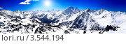 Купить «Панорама заснеженных горных склонов в солнечный день», фото № 3544194, снято 22 января 2019 г. (c) Vitas / Фотобанк Лори