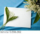 Веточка ландышей на белом листе бумаги и букет. Стоковое фото, фотограф Ольга Денисова / Фотобанк Лори