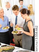 Купить «Деловые люди у шведского стола», фото № 3558662, снято 15 апреля 2012 г. (c) CandyBox Images / Фотобанк Лори