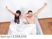 Купить «Влюбленные потягиваются, проснувшись», фото № 3559610, снято 3 марта 2012 г. (c) Андрей Попов / Фотобанк Лори