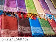 Купить «Индийские платки разных цветов», фото № 3568162, снято 7 февраля 2012 г. (c) Сергей Новиков / Фотобанк Лори
