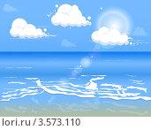Синее море, уходящее в горизонт, с облаками и песчаным дном. Стоковая иллюстрация, иллюстратор Виталий / Фотобанк Лори