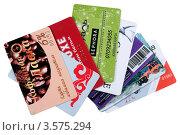 Купить «Дисконтные карты изолировано на белом фоне», фото № 3575294, снято 8 июня 2012 г. (c) Анна Зеленская / Фотобанк Лори