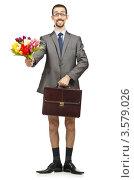 Купить «Мужчина без штанов с букетом», фото № 3579026, снято 20 апреля 2012 г. (c) Elnur / Фотобанк Лори