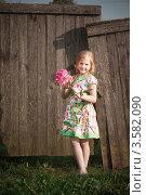 Купить «Улыбающаяся девочка у деревянного забора», фото № 3582090, снято 9 июня 2012 г. (c) Майя Крученкова / Фотобанк Лори