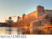 Купить «Вид на Ивангородскую крепость и Нарвский замок», эксклюзивное фото № 3585622, снято 4 апреля 2012 г. (c) Литвяк Игорь / Фотобанк Лори