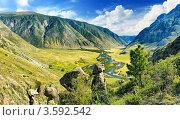Купить «Алтай. Вид на долину реки Чулышман.», фото № 3592542, снято 6 августа 2008 г. (c) Beerkoff / Фотобанк Лори