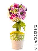 Букет искусственных цветов в горшке. Стоковое фото, фотограф Фотиев Михаил / Фотобанк Лори