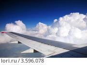 Купить «Крыло самолёта на фоне белых облаков», фото № 3596078, снято 9 июня 2012 г. (c) Vitas / Фотобанк Лори
