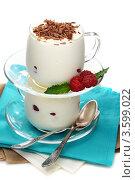 Купить «Две стеклянные кружки со сладким десертом с малиной и шоколадной стружкой», фото № 3599022, снято 12 июня 2012 г. (c) Марина Сапрунова / Фотобанк Лори