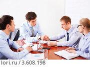 Купить «Бизнесмены на совещании в офисе», фото № 3608198, снято 6 апреля 2012 г. (c) Raev Denis / Фотобанк Лори
