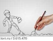 Купить «Нарисованный человек осторожно ступает по камням в воде», иллюстрация № 3615470 (c) Sergey Nivens / Фотобанк Лори