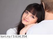 Купить «Счастливая девушка обнимает своего парня», фото № 3634354, снято 15 марта 2011 г. (c) Losevsky Pavel / Фотобанк Лори