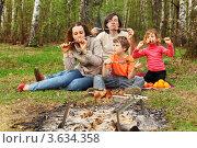 Купить «Семья в лесу у костра ест шашлык», фото № 3634358, снято 7 мая 2011 г. (c) Losevsky Pavel / Фотобанк Лори