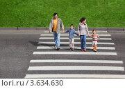 Купить «Семья с детьми переходит улицу», фото № 3634630, снято 29 мая 2010 г. (c) Losevsky Pavel / Фотобанк Лори