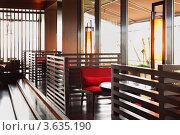 Купить «Интерьер современного ресторана с красными диванами», фото № 3635190, снято 15 мая 2011 г. (c) Losevsky Pavel / Фотобанк Лори