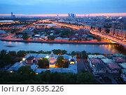 Купить «Панорама вечерней Москвы, Новоандреевский мост и Андреевский монастырь», фото № 3635226, снято 15 мая 2011 г. (c) Losevsky Pavel / Фотобанк Лори