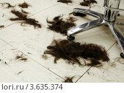 Купить «Стриженые волосы на полу в парикмахерской», фото № 3635374, снято 18 мая 2011 г. (c) Losevsky Pavel / Фотобанк Лори