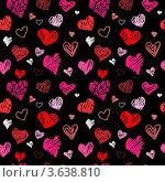 Купить «Бесшовный рисунок, маленькие красные сердечки на чёрном фоне», иллюстрация № 3638810 (c) Katya Ulitina / Фотобанк Лори