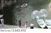 Купить «Рускеала, Мраморный карьер, катание на зорбах», видеоролик № 3643410, снято 3 июля 2012 г. (c) Кекяляйнен Андрей / Фотобанк Лори