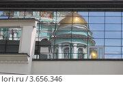 Отражение Богоявленского Кафедрального Собора в Елохове. Москва (2012 год). Стоковое фото, фотограф Скитева Екатерина / Фотобанк Лори