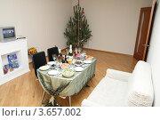 Новогодний стол в новой квартире (2008 год). Редакционное фото, фотограф Дмитрий Сарычев / Фотобанк Лори