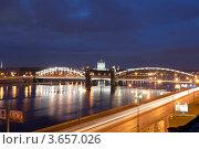 Санкт-Петербург. Мост Петра Великого (Большеохтинский) (2012 год). Редакционное фото, фотограф Литвяк Игорь / Фотобанк Лори