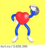 Сердце - человечек поднимает гирю. Стоковая иллюстрация, иллюстратор Юдинцев Дмитрий / Фотобанк Лори
