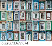 Купить «Городецкие окна», фото № 3677074, снято 13 ноября 2018 г. (c) Павел Широков / Фотобанк Лори