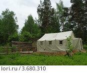 Купить «Военная палатка в лесу», фото № 3680310, снято 6 июня 2009 г. (c) Ирина / Фотобанк Лори