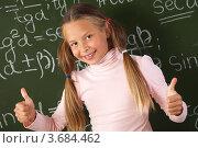 Купить «Улыбающаяся девочка показывает большие пальцы вверх на фоне школьной доски с формулами», фото № 3684462, снято 18 августа 2011 г. (c) Великова Ирина Николаевна / Фотобанк Лори