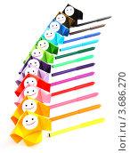 Все цвета радуги. Разноцветные люди-оригами стоят рядом с разноцветными фломастерами. Стоковое фото, фотограф Юлия Шевченко / Фотобанк Лори