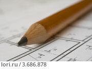Купить «Большой карандаш и чертеж», фото № 3686878, снято 3 июля 2009 г. (c) Александр Скопинцев / Фотобанк Лори