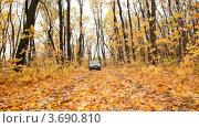 Купить «Внедорожник едет по лесу», видеоролик № 3690810, снято 13 марта 2010 г. (c) Losevsky Pavel / Фотобанк Лори